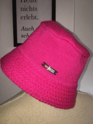 Diesel Chapeau en tricot rouge framboise-magenta
