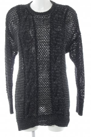 Diesel Sweat Dress black-silver-colored loosely knitted pattern elegant