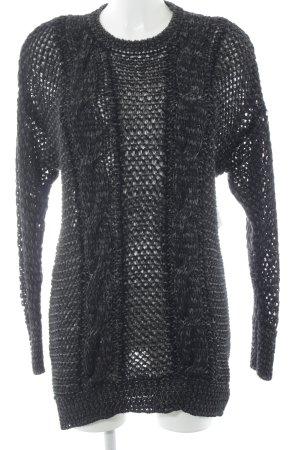 Diesel Sweatkleid schwarz-silberfarben Lochstrickmuster Elegant