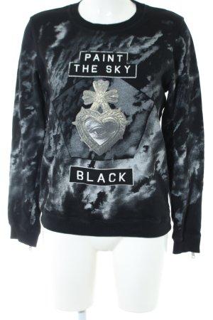 Diesel Sweatshirt schwarz-hellgrau abstraktes Muster Casual-Look