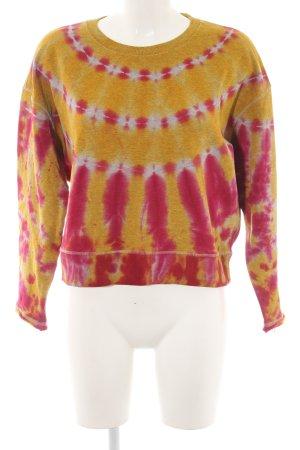 Diesel Sweatshirt dunkelgelb-magenta Batikmuster Casual-Look