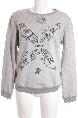 Diesel Sweatshirt gris clair-noir style décontracté