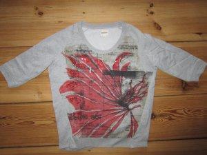 DIESEL Sweatshirt Pullover grau rote Pailletten