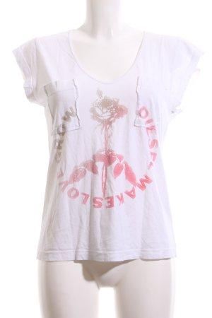 Diesel T-Shirt weiß-rot Schriftzug gedruckt Casual-Look