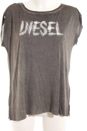 Diesel T-Shirt anthrazit-weiß platzierter Druck Casual-Look