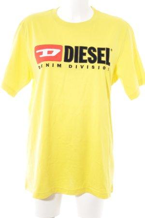 Diesel T-Shirt dunkelgelb Schriftzug gestickt Casual-Look