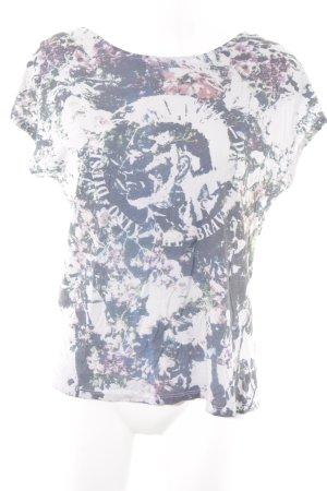 Diesel T-Shirt hellgrau-dunkelblau Allover-Druck Casual-Look