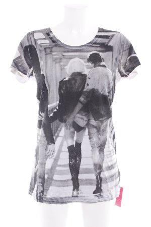 Diesel T-Shirt hellgrau-schwarz Allover-Druck Casual-Look