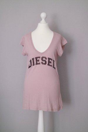 Diesel   T-Shirt mit V-Ausschnitt   Gr. S   altrosa