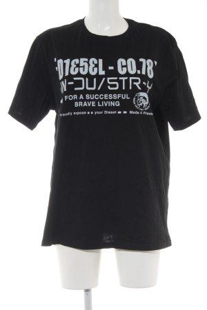 Diesel T-Shirt schwarz-hellgrau Schriftzug gedruckt Unisex-Artikel