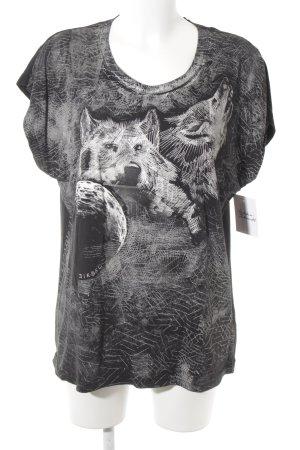 Diesel T-Shirt schwarz-weiß abstrakter Druck Casual-Look