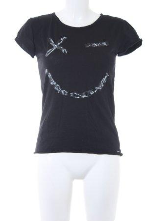 Diesel T-Shirt schwarz-weiß Motivdruck Casual-Look