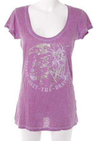 Diesel T-Shirt violett Motivdruck Washed-Optik