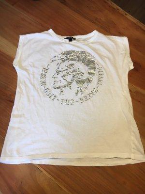 Diesel T-Shirt - Weiß -Indianerkopf in Silber - Lockere Passform - XS- wie neu