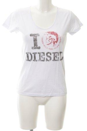 Diesel T-Shirt weiß Motivdruck Casual-Look