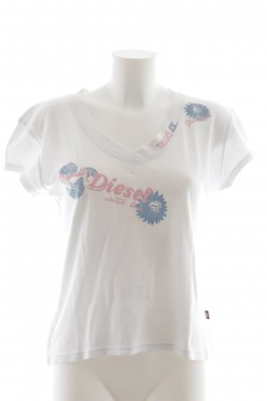 Diesel T-Shirt weiß Schriftzug gedruckt Logoprint