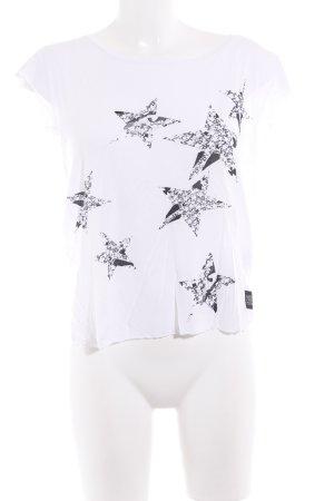 Diesel T-Shirt weiß-schwarz Sternenmuster Casual-Look