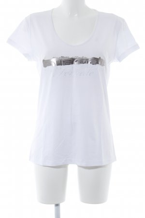 Diesel Camiseta blanco-color plata estampado gráfico look casual