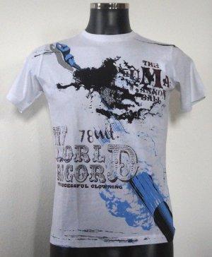 Diesel T-Shirt World 78 Blau-Braun-Weiß XS