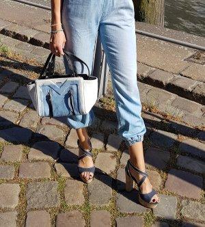Diesel Trapez bag aus leder und denim jeans