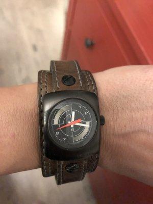 6cd562d1a4f3 Diesel Reloj con pulsera de cuero marrón oscuro-negro