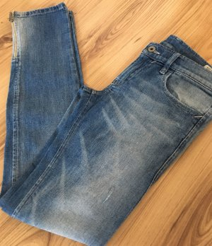 Diesel Zivy Röhren Jeans W25 XS 34 Super Slim Fit Ankle Skinny Hose Used Look Biker Denim