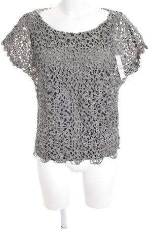 diff Crochet Shirt green grey flower pattern mesh look