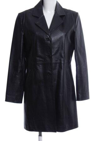 Different Manteau en cuir noir style décontracté