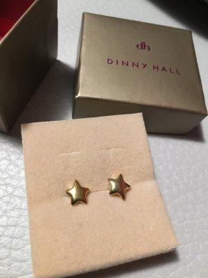 DINNY HALL Ohrstecker Ohrringe Sterne Stern Weihnachten, 22 Karat Gold