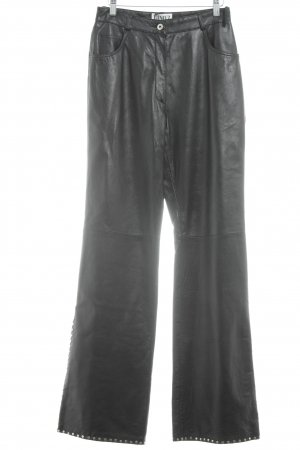 Dino'Z Leather Trousers black-silver-colored biker look