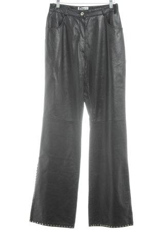 Dino'Z Pantalón de cuero negro-color plata Estilo ciclista