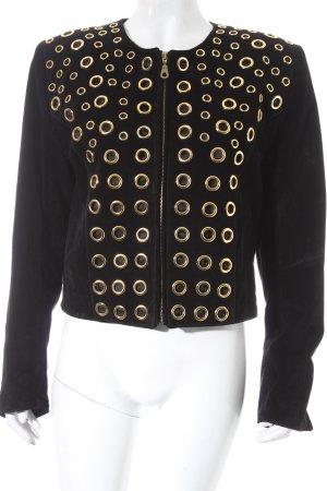 Dino'Z Lederjacke schwarz-goldfarben extravaganter Stil