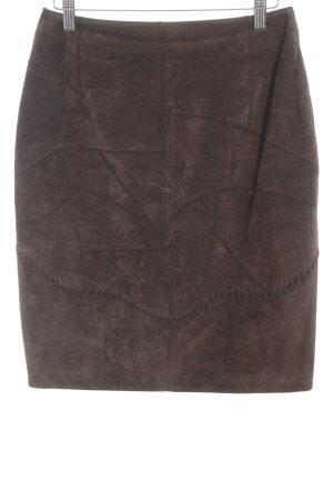 Dino'Z Falda de cuero marrón oscuro look casual