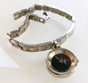 * DIOR * Armband UHR ANHÄNGER Metall Edelstahl silber Ziersteine Gliederarmband