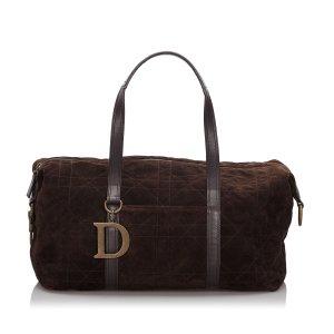 Dior Cannage Suede Boston Bag