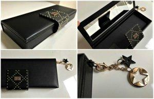 Dior Clutch,Kosmetik Tasche oder Schmuck Box mit Spiegel + 2 Anhänger