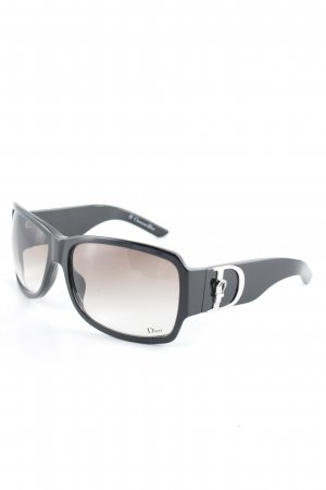 Dior eckige Sonnenbrille schwarz-silberfarben klassischer Stil