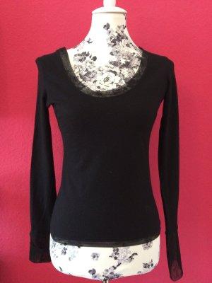 Dior feiner Wollpullover schwarz mit Netzeinfassung
