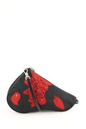 Dior Henkeltasche schwarz-rot Blumenmuster Casual-Look