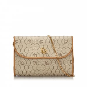 Dior Honeycomb Coated Canvas Chain Shoulder Bag