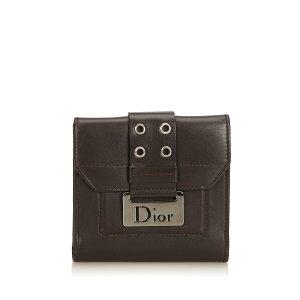 Dior Wallet dark brown leather