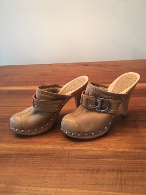 Dior Leather Wood Beige Mules