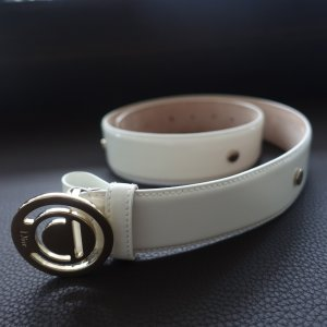 Christian Dior Leather Belt white-silver-colored leather