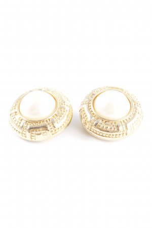 Dior Earclip gold-colored-white ethnic pattern business style