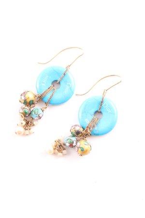 Dior Pendant d'oreille bleu-doré élégant