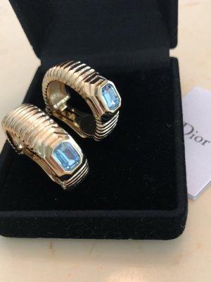 Dior Pendientes de clip azul celeste-color oro