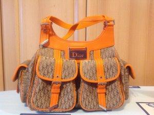Dior orange beige Dior Muster Schultertasche  wie Neu