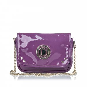 Dior Patent Leather Chain Shoulder Bag