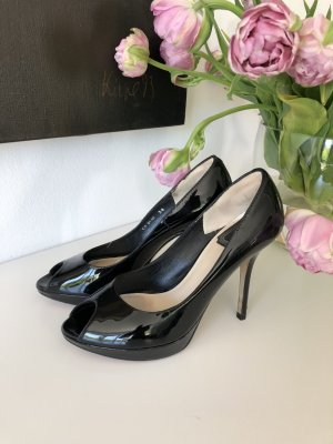 Dior Peep-Toe Lackleder Plateaux Gr. 38