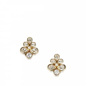 Dior Rhinestone Flower Earrings
